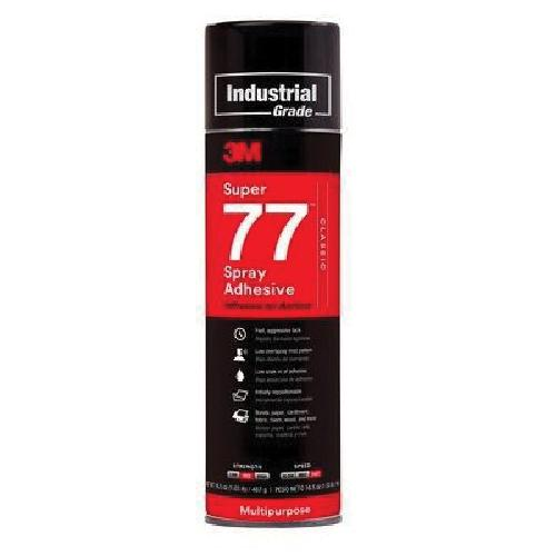 3M™ Super 77™ 021200-21210 77 Multi-Purpose Spray Adhesive, 24 fl-oz Aerosol Can, Liquid, Clear, 0.72 - Spray Adhesives